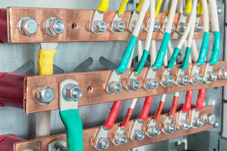 Connecting the wires with the bolts and nuts to the copper rails in the electrical Cabinet. A quality connection provides high security and durability, ensures smooth operation of all components.