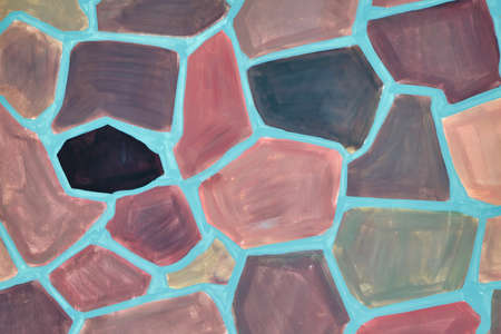 The surface of the wall is painted with paint in the form of a mosaic of colorful irregular polygons. Polygons of different shapes and sizes, large and small. Background or backdrop.