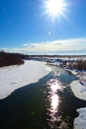 Forest River on a sunny winter day. Stok Fotoğraf