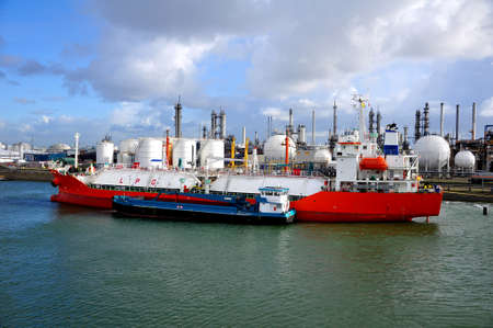 gas-carrier in port for loading and bunkering operations photo