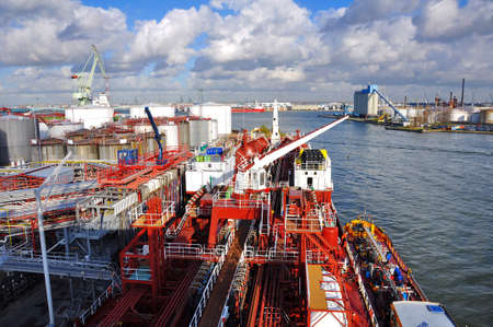 loading of chemical tanker in the port for loading photo