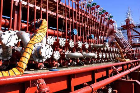 manifold: manifold of chemical tanker Stock Photo