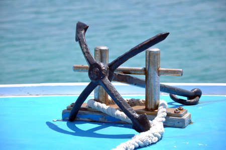 windless: anchor on board of jacht Stock Photo