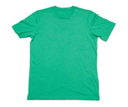 shirtsleeves: green shirt isolated on white background Stock Photo