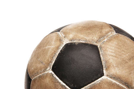 Dirty soccer ball on white background photo
