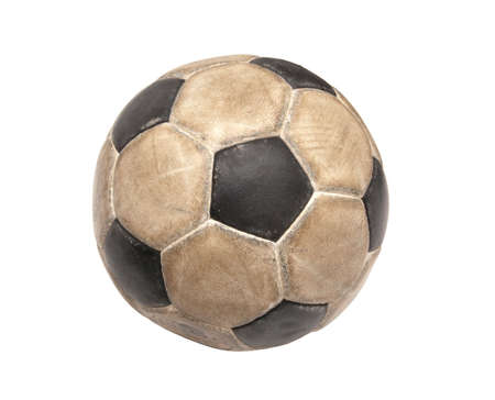Dirty soccer ball on white background