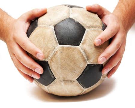 hands on the soccer ball on white