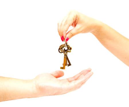 keys in the hand on white