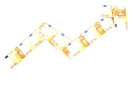 money arrow on white background Stock Photo