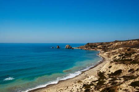 aphrodites beach in summer day