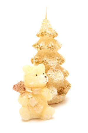 candles in the form of christmas tree and bear Stock Photo