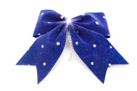 blue bow on white Stock Photo