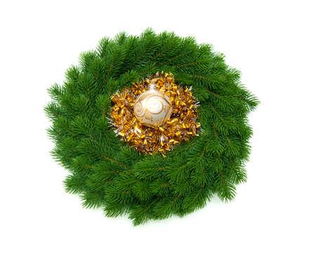 christmas wreath isolate on white background Stock Photo