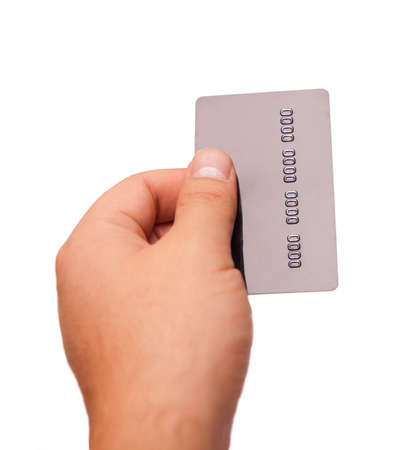 credit card in the hand isolate on white photo