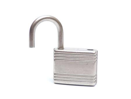 opened padlock isolated on white
