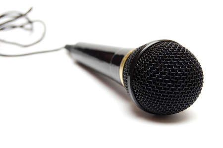 black microphone isolated on white Stock Photo