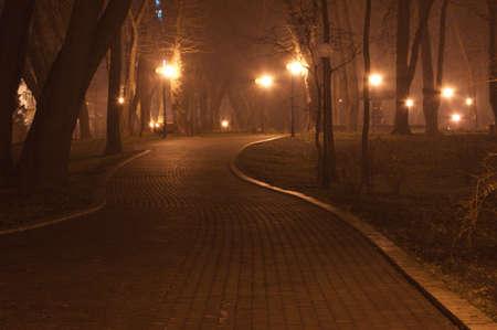 streetlights: path in the night park  Stock Photo