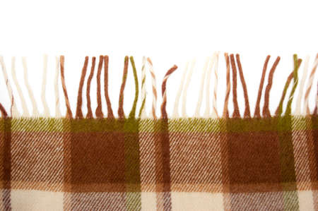 beige-brown woolen plaid isolated on white