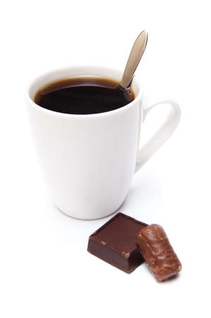 cofee cup and chocolate sweetisolated on white