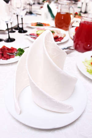 decorative napkin on a plate Stock Photo