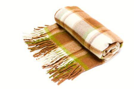 beige-brown woolen plaid isolated on white  Stock Photo