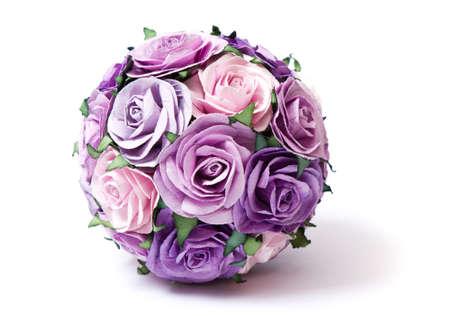 flor morada: Bouquet de rosas rosadas y violetas