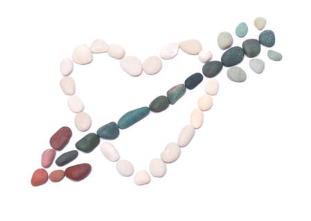 pebble in the form of arrow and heart