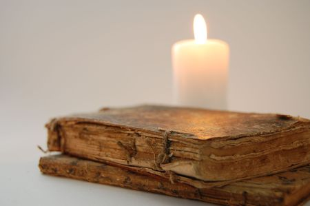 Old books by the candlelight Stock Photo - 2457527