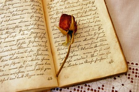 single word: Dried red rose on an open old book Stock Photo