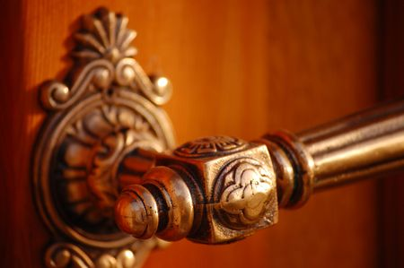 doorknob: Old beautifully crafted church doorknob detail