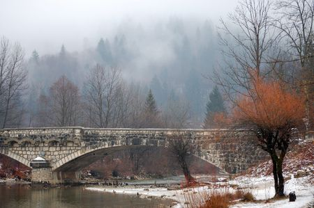 The stone bridge at the Bohinj lake, Slovenia, in winter photo