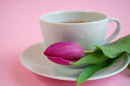 asian tulips: A cup of tea or coffee with a pink tulip on a plate Stock Photo