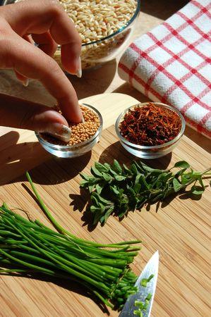 Seasoning with mustard seeds