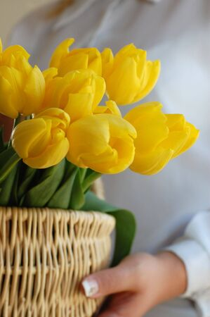 Woman holding a wicker basket full of vibrant yellow tulips