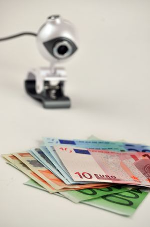 Surveillance camera monitoring the euro banknotes photo