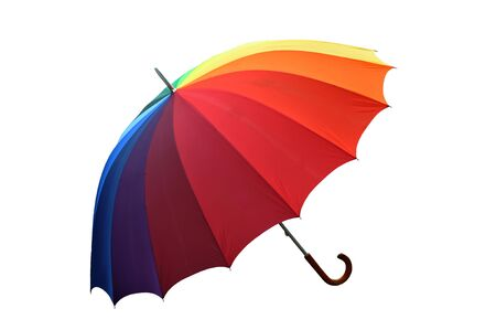 umbrella rain: Colorful umbrella isolated on white background Stock Photo