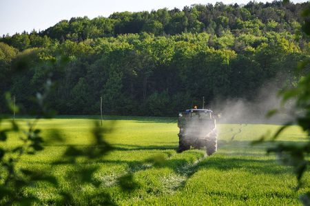 Tractor spraying pesticide in the field Stock Photo