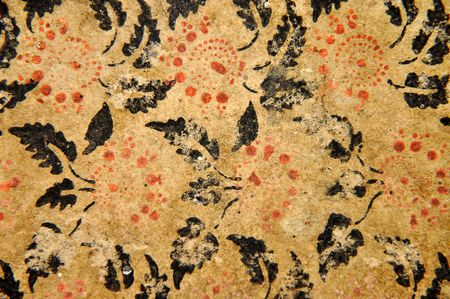 Grunge floral pattern on old paper photo