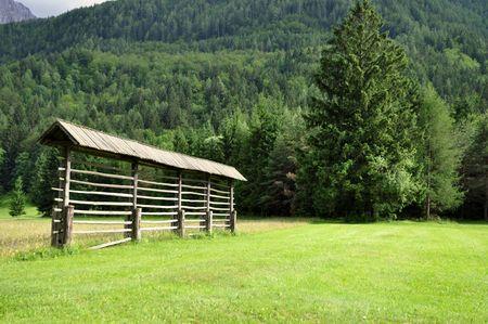 Drying rack (kozolec) in the summer landscape. Gorenjska, Slovenia Stock Photo - 5142574