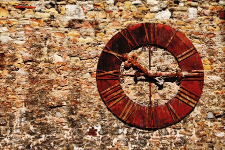 Rusty old clock on a building Stock Photo - 6694257