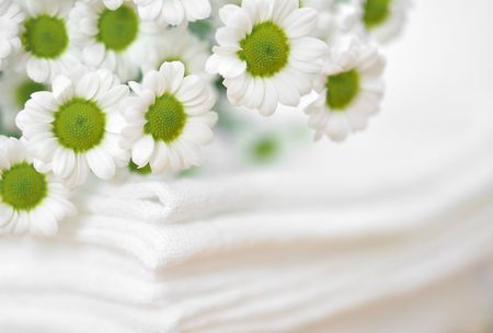 clean clothes: Tiny white daisies on a pile of white clothes Stock Photo