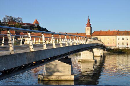 drava: Bridge over the Drava river. Ptuj, Slovenia Stock Photo