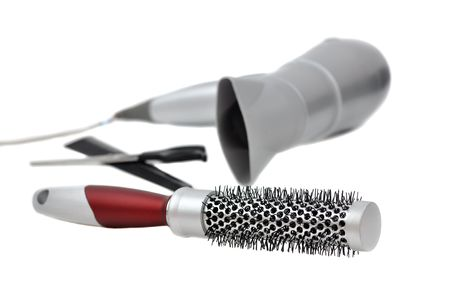 Scissors, hair comb, and hair dryer, isolated on white