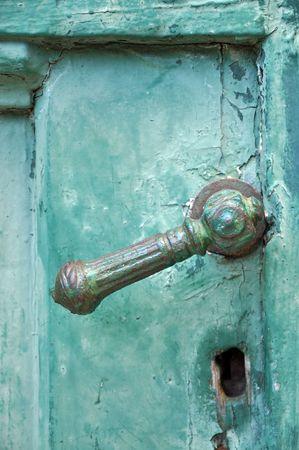 Oude deur greep