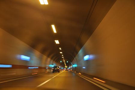 Driving through the highway tunnel