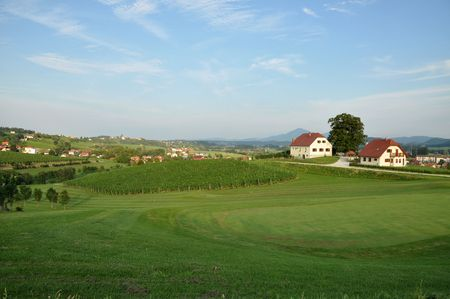 Beautiful summer farmland landscape. Åkalce, Slovenske Konjice, Slovenia Stock Photo - 7634899