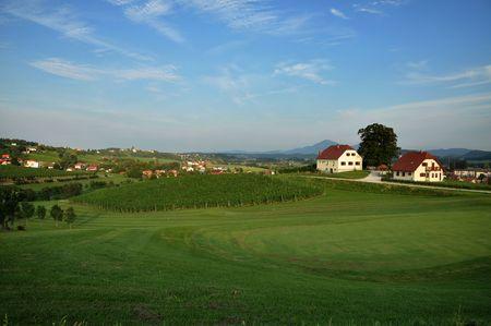 Beautiful summer farmland landscape. Åkalce, Slovenske Konjice, Slovenia Stock Photo - 7650167
