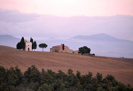 Cappella di Vitaleta at dusk, Tuscany, Italy photo