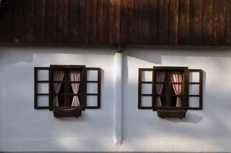 cottage house: Windows of the old house  Kumrovec, Croatia