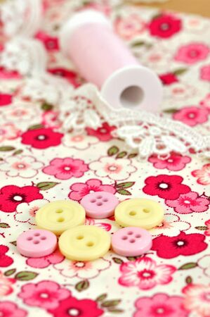 Sewing items on floral cloth Stock Photo - 8251714